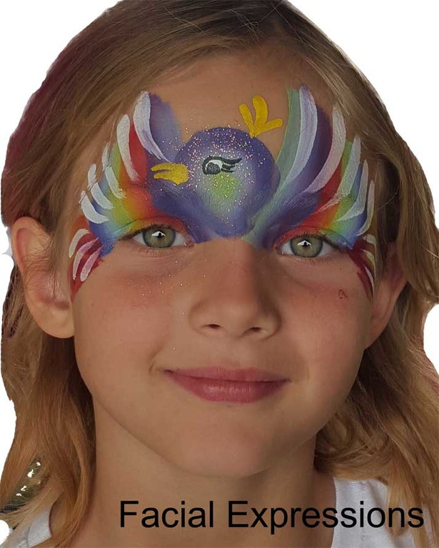 Rainbow Bird Facepainting made with a split cake